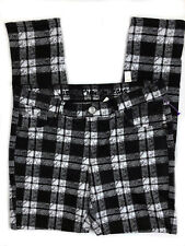 Justice simply low black white plaid stretch jegging leggings 16 1/2 NWT
