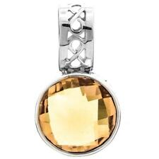 """7/8"""" 6CT12MM GORGEOUS CHECKERBOARD CUT CITRINE 925 STERLING SILVER pendant"""