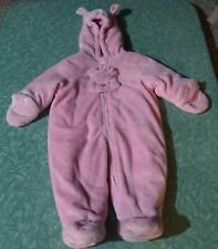 ⭐️Okie Dokie Thick Pink Fleece Hooded Snowsuit with Ears 6-9 Months⭐️