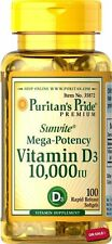 Puritan's Pride POWERFUL HEALTH AID Vitamin D3 10000 IU /100 Softgels USA Made