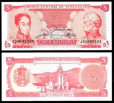 World Paper Money - Venezuela 5 Bolivares 1989 Series J8 @ Crisp UNC