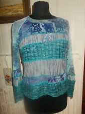 Pull tee shirt polyester bi-matières bleu turquoise PAUSE CAFE t.3 38/40 doublé