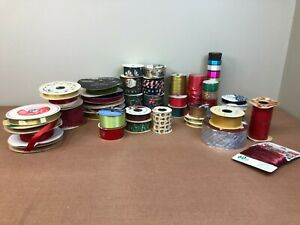 Lot of 40 Vtg Ribbon Rolls Trim Velvet Christmas Sasheen Holiday Satin Offray