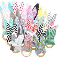 Wooden Baby Cotton Rabbit Ear Rattles Wood Ring Teething Stroller Sensory Toys