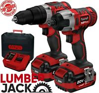 Cordless 20v Li Ion Hammer Drill & Impact Driver 2 x 4Ah Batteries Fast Charger