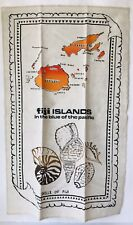 "New listing Shells of Fiji Islands Linen Tea Towel Map Seashells 28.5 x 17.5"" Wall Decor"