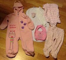 A Mixed Lot Of 7 Girls (6-9mo) Items: PJ, BurpCloth, Leggins, socks, dress, bib,