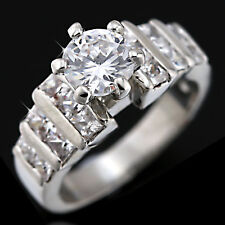 9K WHITE GOLD GF SOLID PRINCESS PAVE SIMULATED DIAMOND ENGAGEMENT WEDDING RINGS