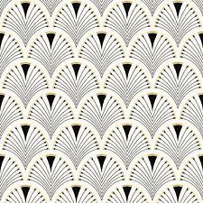 MODERN ART DECO FAN WALLPAPER BLACK / GOLD - RASCH 433210