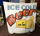 Ice Cold Beer Sign Handpainted On A Car Hood Vintage