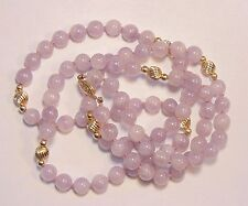 """Vintage 14k Solid Yellow Gold Natural Lavender Jade Beaded Necklace 33"""" 62 grams"""
