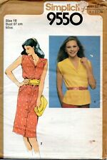70s Simplicity Sewing Pattern 9550 Misses Button Down Dress Top Size 16