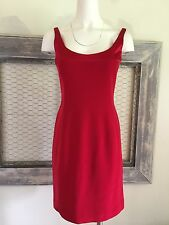 Tahari Red Evening Dress 6 S Small Sheath Cocktail Above Knee Sleeveless Solid