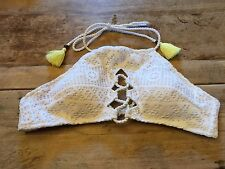 "White Crochet MEDIUM Victoria's Secret ""LACE UP HIGH NECK HALTER"" Bikini Swim"