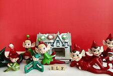 Vintage Mid Century & New Ceramic Elf, House & Sign Lot 11 Items fine condition