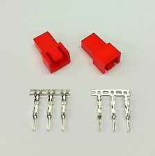 PK OF 2 - MALE 3 PIN FAN POWER CONNECTOR - RED INC PINS