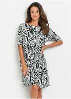 Black and White Animal Print Dropped Waist Beach to Bar Viscose Tunic Dress