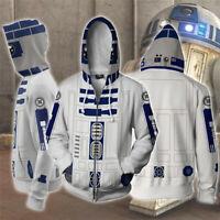 Star Wars R2-D2 Robot Cosplay 3D Hoodie Sweatshirt Hooded Zipper Coat Jacket