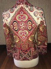 vintage Biya Johnny Was HEAVLY Embroidered Red  Coat Jacket M Elaborate