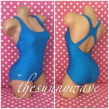 Speedo one peice racerback sport competition aqua blue swim swimsuit suit Sz 8