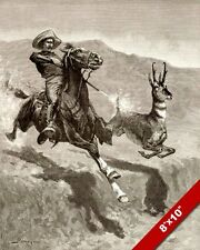 HORSEBACK ANTELOPE HUNTING AMERICAN WEST REMINGTON ART ENGRAVING CANVAS PRINT