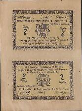 Spain , 4 Pesetas / Uncut sheet of 2 Pesetas , 16.5.1937 , Rare , Unlisted