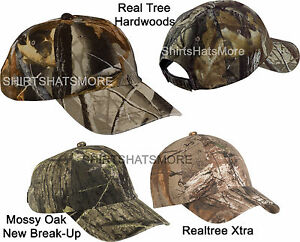 Garment Washed Camo Baseball Cap Hunting Hat Camouflage Mossy Oak Realtree NEW