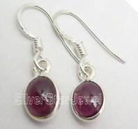 925 Sterling Silver Jewelry !! Sparkling RED GARNET FASHIONABLE Earrings 1""