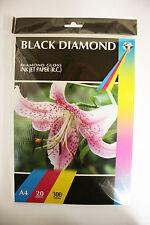 20 Sheets A4 Black Diamond 300 gsm Professional Gloss Inkjet Photo Paper Glossy