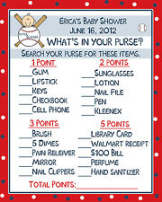 24 Baby Shower Game Cards Whats In Your Purse Game - Little Slugger