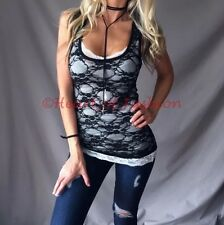 SEXY Sultry Basic Sheer Floral Lace Layering Racerback Tank Sleeveless Layer Top