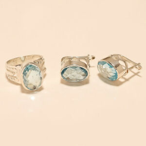 Natural Siberian Aquamarine Ring Earrings 925 Sterling Silver Engagement Jewelry