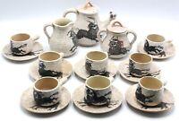 Mid Century Sanguino Toledo Spain Art Pottery Hand Paint Bull Demitasse Tea Set