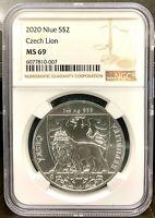 2020 Niue $2 Czech Lion 1 oz .999 Silver Coin - NGC MS 69