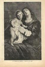 Stampa antica MADONNA CON GESU' da Van Dick 1886 Old antique print