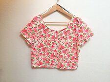 H&M H M Women's Shirt Crop Top Blouse-  Flowers Floral Multi-Colored, Size Large