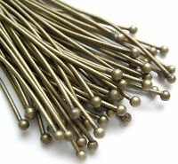 100  Antique Bronze BALL Headpins 50 x 0.7mm Head Pins
