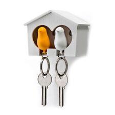 Duo Wood House Sparrow Bird Key Ring + Key Holder + Whistle - White+Yellow D1V1