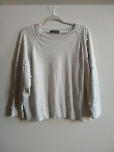Zara Women's Gray Pearl Embroidered Sweater Size Small