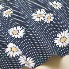 Daisy Floral Polka Dot Fabric 100% COTTON NAVY Spotty Vintage