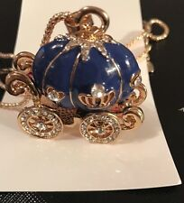 Betsey Johnson Necklace Blue Cinderella Princess Pumpkin Carriage Gold Crystals