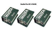 Radial Engineering ProDi Pro Di Three Pack Passive Instrument Direct Box 3Pk New