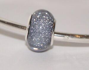 DEEP GREY SILVER GLITTER BEAD Silver European Charm Bracelet Necklace Jewellery