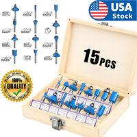 """15Pcs Carbon Milling Cutter Router Bit Set Tungsten Carbide Router 1/4"""" Shank US"""