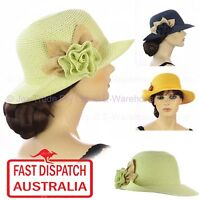 Women Ladies 20s 20's Gatsby Party Costume Cloche Side Flower Fashion Sun Hat