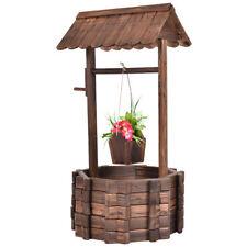 Outdoor Wooden Wishing Well Flower Pot Planter Plant Patio Yard Garden Costway