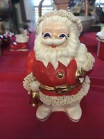 RARE Vintage Japan Christmas Blue Eyes Santa Claus w/Gold Trim Bank Spaghetti
