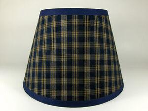 Primitive Navy Sturbridge Plaid Homespun Fabric Lampshade Lamp Shade