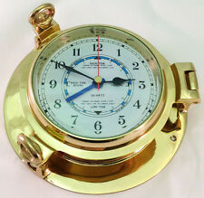 Brass Porthole Tide and Time Clock
