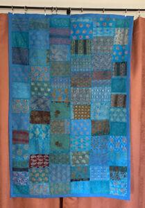 Blue India Wall Decoration Unique Patchwork Tapestry Art Textile 59X40